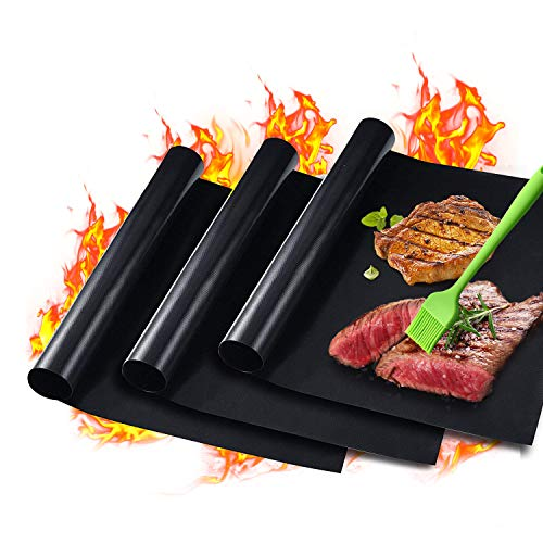"GAINWELL 0.25mm Heavy Duty Safe BBQ Grill Mat Super Thick 15.8"" x 13"" - 3 Pack (Black) by GAINWELL"