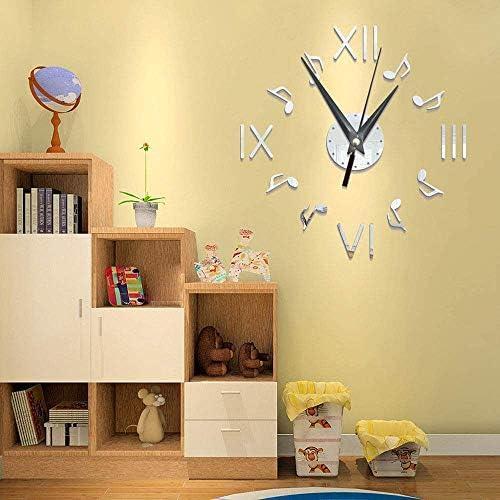 壁掛け 時計 壁掛け時計 DIYの3D現代の大きな壁のアートステッカー番号自宅のオフィスのリビングルームの装飾時計 - (バッテリーは含まれていません) 掛け時計 (Color, Silver),Silver