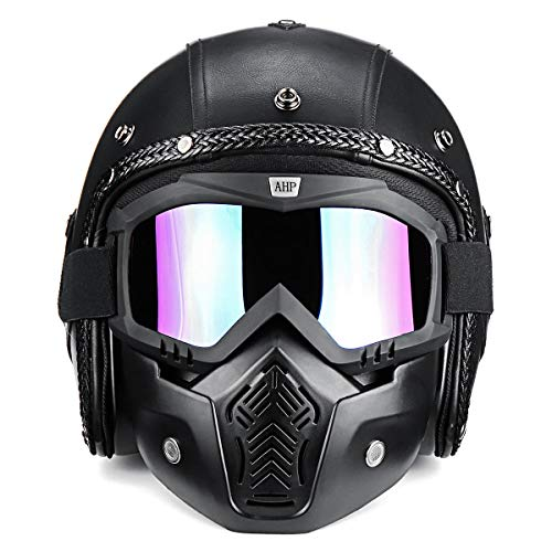 Leno 3/4 Open Chopper Motorcycle PU Leather Helmet+Face Mask with Glasses for Harley ()