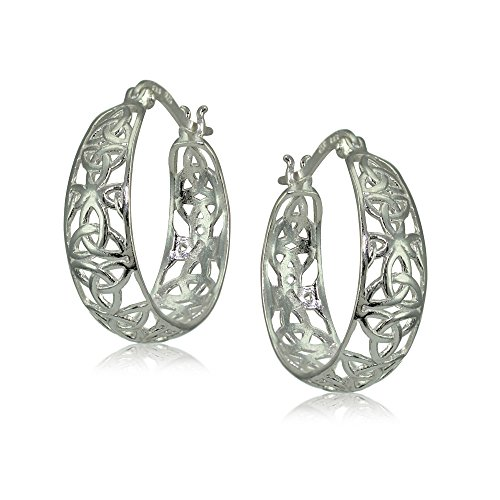 Sterling Silver High Polished Celtic Knot Filigree Hoop Earrings Sterling Silver Knot Design