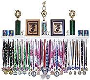 MedalAwardsRack Premier Medal Hanger Display Rack and Trophy Shelf for Gymnastics, Soccer, Basketball, Footbal