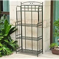 K&A Company Matte Brown Powder Coated Iron Folding Rack Bakers 4-Tier shelving storage for Indoor or Outdoor Use