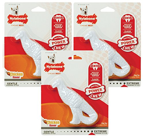 (3 Pack) Nylabone Dura Dental Dino Small Chicken Flavor Dog Chew Toy