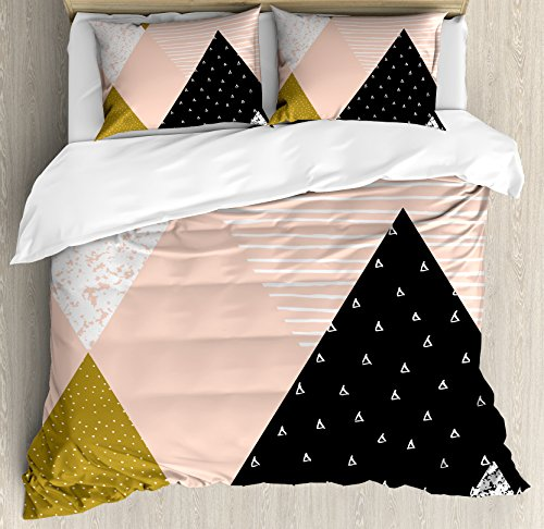 Lunarable Contemporary Duvet Cover Set Queen Size, Abstract Vintage Triangle Pattern with Lines Dots Retro Stripes, Decorative 3 Piece Bedding Set with 2 Pillow Shams, Coral Black