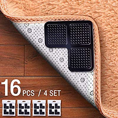 KINGRUNNING Rug Grippers for Hardwood Floors, Carpet Gripper Double Sided Anti Curling Non-Slip Washable and Reusable Pads for Tile Floors, Carpets, Floor Mats, Wall, 16 pcs Black
