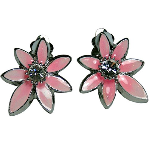 Hampton Direct Pink Flower Clip-On Earrings, Stylish, Jewelry, Silver Toned