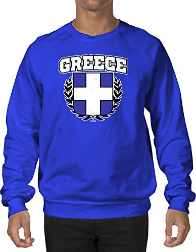 Greece Distressed Crest Flag Men's Crewneck Sweatshirt Sweater (Small, ROYAL BLUE)