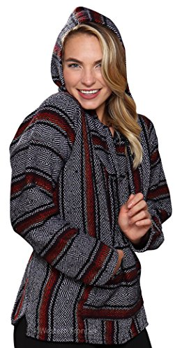 El Paso Designs Genuine Mexican Baja Hoodie Pullover Poncho- Brushed inside for an ultra soft feel- For Men & Women (Large, Premium 2)