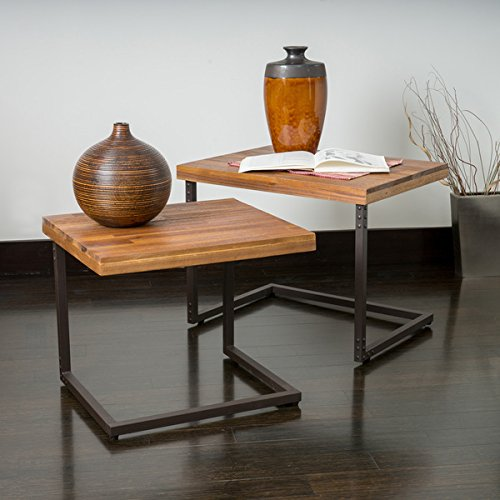 Braeden Sandblast Rustic Wood Iron Nested Tables (Set of 2) For Sale
