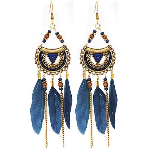 Ethnic Beaded Indian Earrings Bohemian Feather Jhumka Dangles (Blue ()