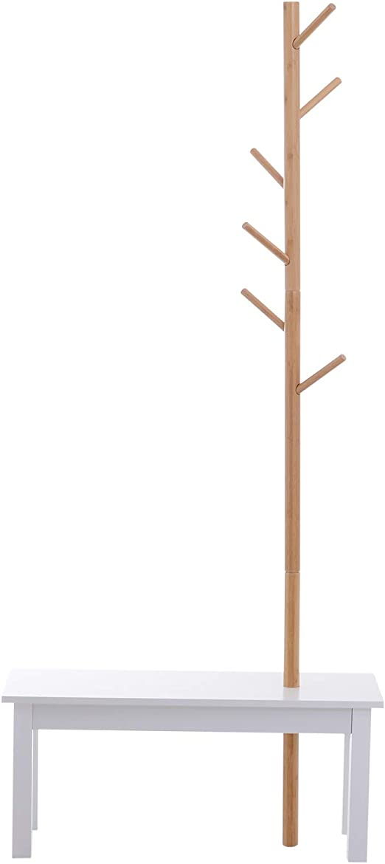 HOMCOM Perchero de Pie con Banco Colgador Tipo Árbol Moderno 6 Ganchos para Colgar Ropa Bolsa Pasillo Entrada Bambú y MDF 80x30x180cm: Amazon.es: Juguetes y juegos