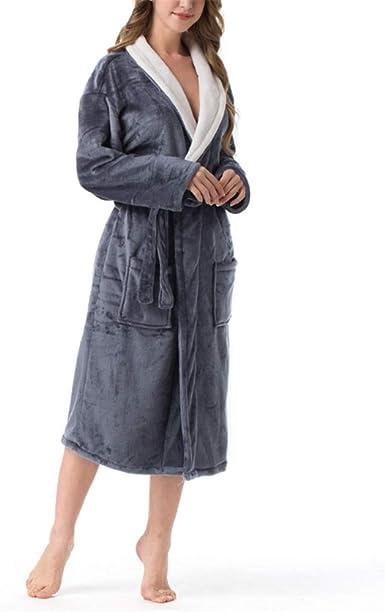 La Bata de baño Absorbente de Toalla súper Absorbente para Mujer Mantiene los Pijamas Calientes, Albornoz Unisex de Franela Engrosada y Larga.: Amazon.es: Ropa y accesorios