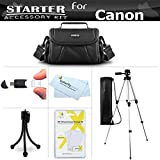 Starter Accessories Kit For The Canon Powershot SX400 IS, SX410 IS, SX420 IS Digital Camera Includes Deluxe Carrying Case + 50 Tripod With Case + LCD Screen Protectors + Mini TableTop Tripod + More