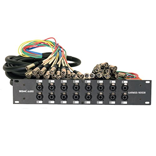 Seismic Audio SARMSS-16x530 Rack Mount 16 Channel XLR TRS Combo Splitter Snake Cable - 5' & 30' XLR trunks by Seismic Audio