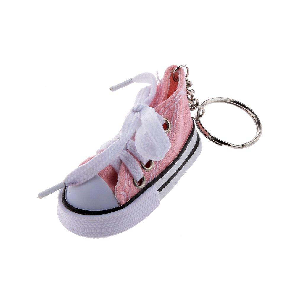 Porte-cl/és Mode Pendentif Chaussure en Toile et Plastique Porte-cl/és Cadeau Noir 25x3.2mm