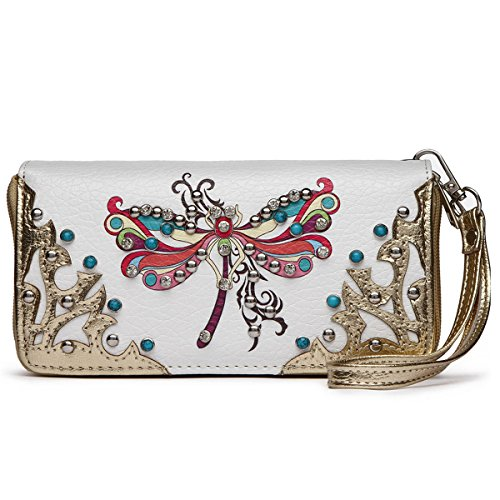 Western Zip gold Dragonfly Bag Around Double Wallet wallet and TqqRrw