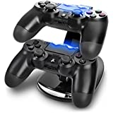 Skins4u© Playstation 4 PS4 & Xbox One Controller Ladestation, horizontal Ständer Twin Dual Duo USB für 2 Controller Docking Station Ladegerät mit LED Beleuchtung blue light USB Kabel Ladegerät Dual Twin für 2 Controller ( PS4, PS3, Xbox One )