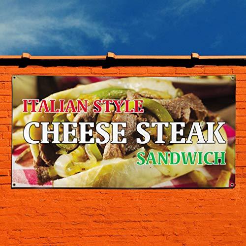 Italian Style Cheese Steak Sandwich Vinyl Banner Sign With Grommets