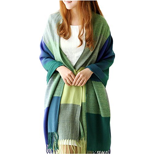 Cable Scarf Knit Long (Warm Cable Knit Infinity Women's Fashion Long Shawl Big Grid Winter Scarf)