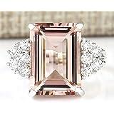 Chic Women Jewelry 925 Silver Natural Morganite & White Sapphire Wedding Ring (9)