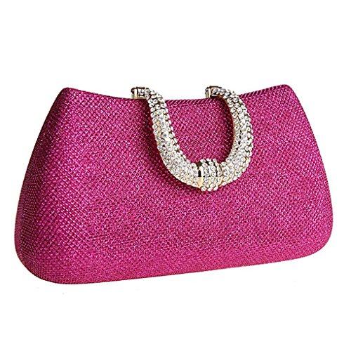 KAXIDY Diamante del Bolso de Embrague del Estuche Rígido de Noche Barnizado de Bodas de Diamante (Champagne) Rosa-rojo