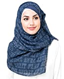 Silk Route New Navy Blue Viscose Typography Maxi Stole Scarf Ladies Wrap Hijab