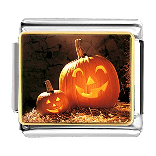 GiftJewelryShop Gold Plated big and small Halloween pumpkin face Bracelet Link Photo Italian Charm