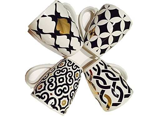 Macy's Black & White with 14k Gold Accents Mugs - Set of ()