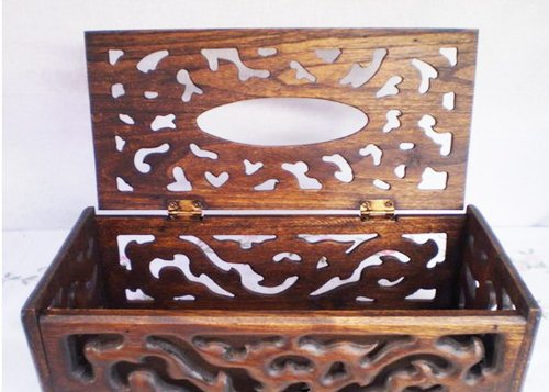 Thai Teak Wooden Crafted Ka-nok Thai Style Tissue Box Cover by Thaiwara
