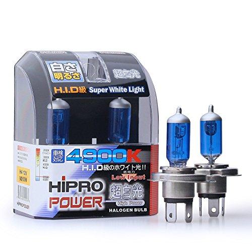 Hipro Power H4 60/55 Watts Super White Xenon HID Headlight Bulb - Low & High Beam