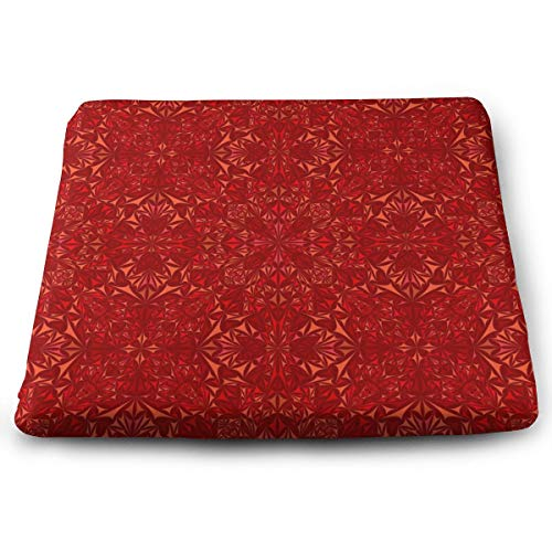 Comfortable Seat Cushion Print Red Pattern Triangle Kaleidoscope - Memory Foam Filled for Outdoor Patio Furniture Garden Home Office