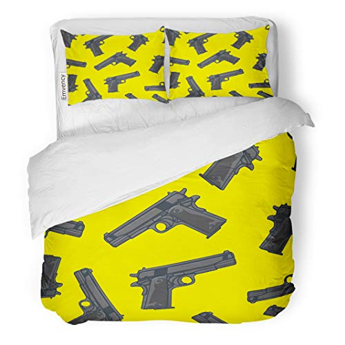 Semtomn Decor Duvet Cover Set King Size Colorful Pattern Guns Pistols Gangster Military Shot Silhouette Airsoft 3 Piece Brushed Microfiber Fabric Print Bedding Set Cover ()