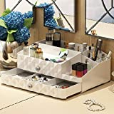 Maxkim Makeup Organizer Jewelry and Cosmetic Storage, Large Capacity,Fit Different Size of Cosmetic,Brushes,Palettes,Lipsticks,2 Drawer 13 Compartment (Large)