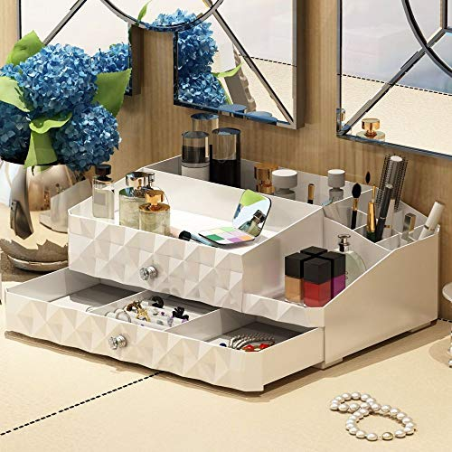 Maxkim Makeup Organizer Jewelry and Cosmetic Storage, Large Capacity,Fit Different Size of Cosmetic,Brushes,Palettes,Lipsticks,2 Drawer 13 Compartment -