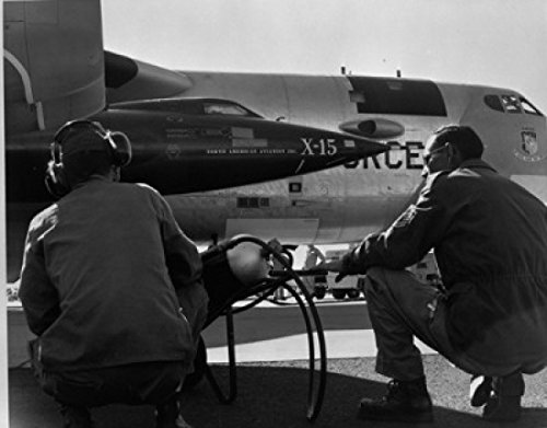 (Posterazzi Rear view of two men crouching near fighter planes X-15 Rocket Research Airplane B-52 Mothership Poster Print (18 x)