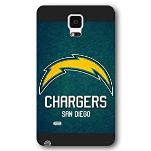 Onelee Customized NFL Series Case for Samsung Galaxy Note 4, NFL Team San Diego Chargers Logo Samsung Galaxy Note 4 Case, Only Fit for Samsung Galaxy Note 4 (Black Frosted Shell)