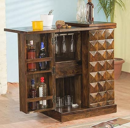 Shri Sai Decor Sheesham Wood Pre-Assemble Stylish Bar Cabinet/Rack with Wine Glass Storage (Natural Brown Finish)