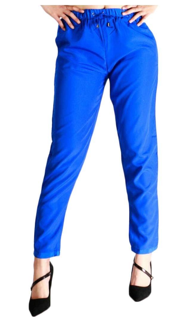 Qiangjinjiu Women's Active Pants Drawstring Waist Jogger Sweatpant Blue XL