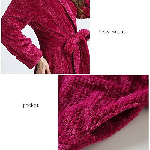 color Damas Gray Maternidad Red Cálida Con Tamaño Baño Grande Mujer L Y Pijamas Bata De Franela Gss Cinturón Vestido Talla qxwpSA0Z
