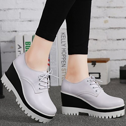 DADAWEN Women's Fashion Lace-up Platform Casual Square-Toe Oxford Shoes White US Size 5 by DADAWEN (Image #4)
