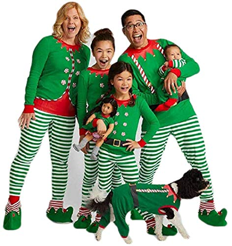 Kehen Family Matching Christmas Pajamas Set for Baby Kids Mom and Dad Xmas Santa Print Sleepwear Outfits,White and Green Green 12-18 Months -