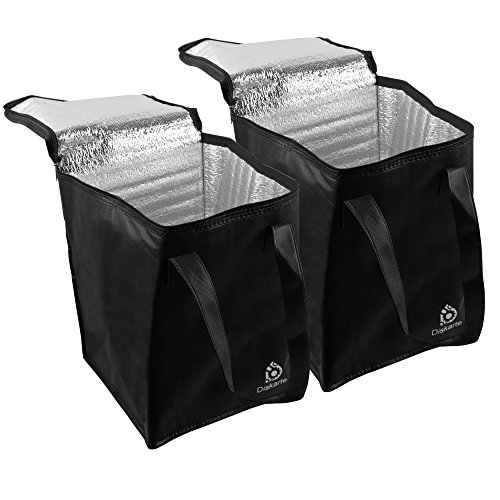 Commercial Quality Food Delivery Bag- 2 Piece Set Black Delivery Bag for Food- 13'' x 9'' x 9'' Dimensions- 80 GSM Nonwoven Polypropylene- Practical and Comfortable by Diskarte
