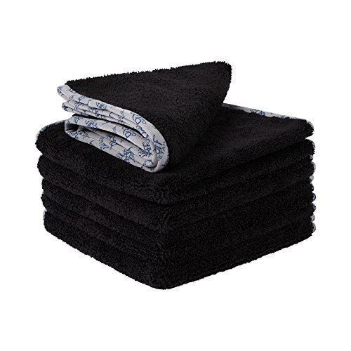"Buff Detail 400 Automotive Microfiber Towel | All-Purpose Auto Detailing - Wax, Buff, Polish, Wash, Dry | Soft Satin Piped Edges | Lint Free | 16""x16"" | 6 Pack (Black)"