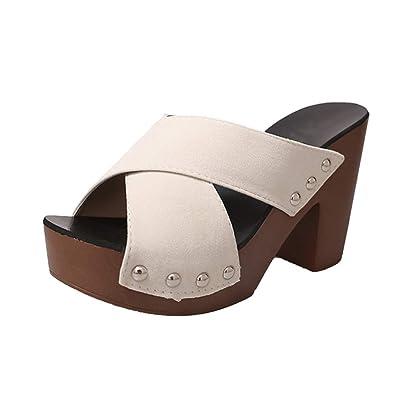 OHQ La Mode FéMinine De Sangle CroiséE Rivets Sandales éPaisses avec des  Pantoufles Beige Noir Femmes Cross Strap Chunky Talon Sandale ÉPais à  Talons Hauts ... 448d97855815
