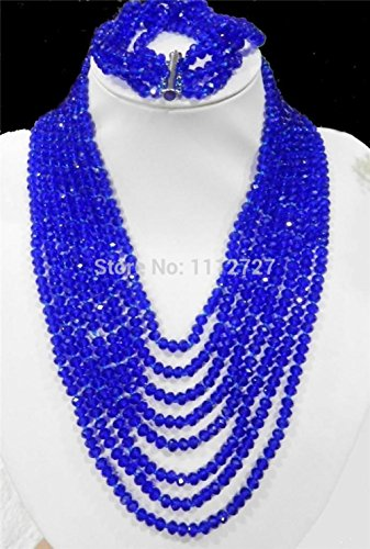 Dancing Zone Hot Charming 8Rows Dark Blue Crystal Beads Chain Necklace 5 Rows Bracelet Jewelry Sets Natural Stone Bv251