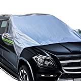 Big Ant Windshield Snow Cover - Magnetic Elastic Hooks Fixed Four Wheels & Reflective Warning Bar on Mirror Covers - Ice Sun Frost and Wind Proof in All Weather - Fit for Most Vehicle