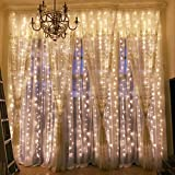 Outop Window Curtain Lights 304LED 9.8FT 8 Modes Fairy Lights for Party Wedding Garden Home (Warm White)