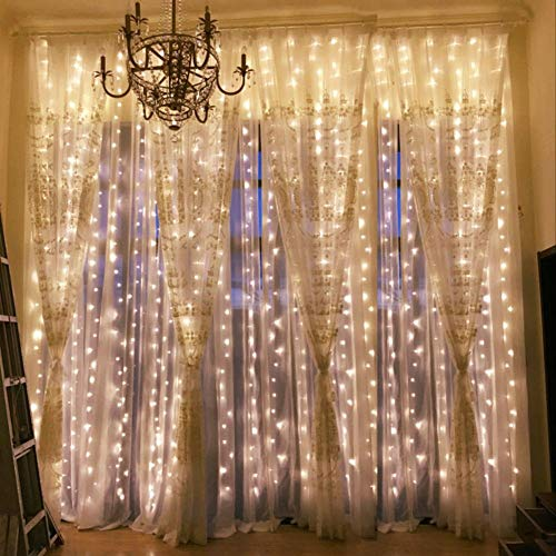 Outop Window Curtain Lights 304LED 9.8FT 8 Modes Fairy Lights for Party Wedding Garden Home (Warmwhite) from Outop