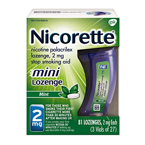 Mini Nicorette Nicotine Lozenge Stop Smoking Aid, 2 mg, Mint Flavored Smoking Cessation Product, 81 Count ()