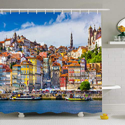 - ArtsDecor Shower Curtains 72 x 78 Inches Oporto Porto Portugal Old Town Skyline from Across Douro River City Travel Place Waterproof Fabric for Bathroom Home Decor Set with Hooks